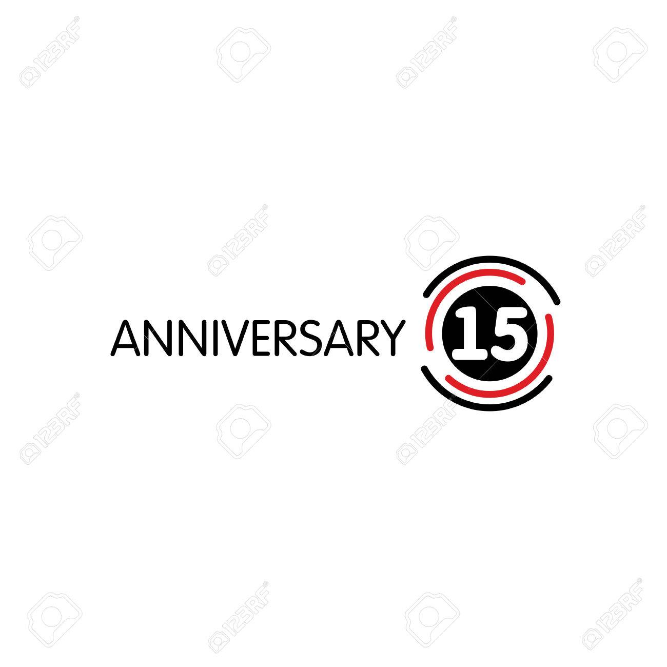 Anniversary Vector Unusual Label Fifteenth Anniversary Symbol