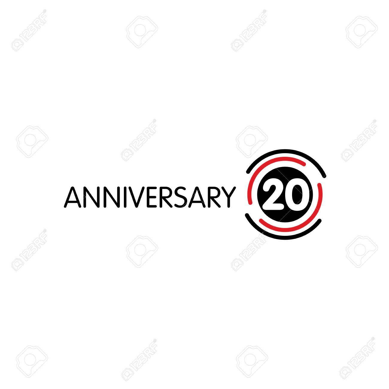 Anniversary Vector Ongebruikelijke Label Twintigste Verjaardag