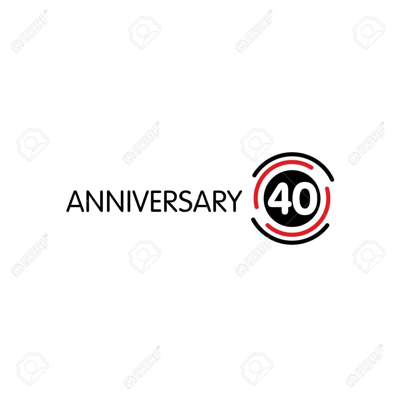 Anniversary Vector Unusual Label Fortieth Anniversary Symbol