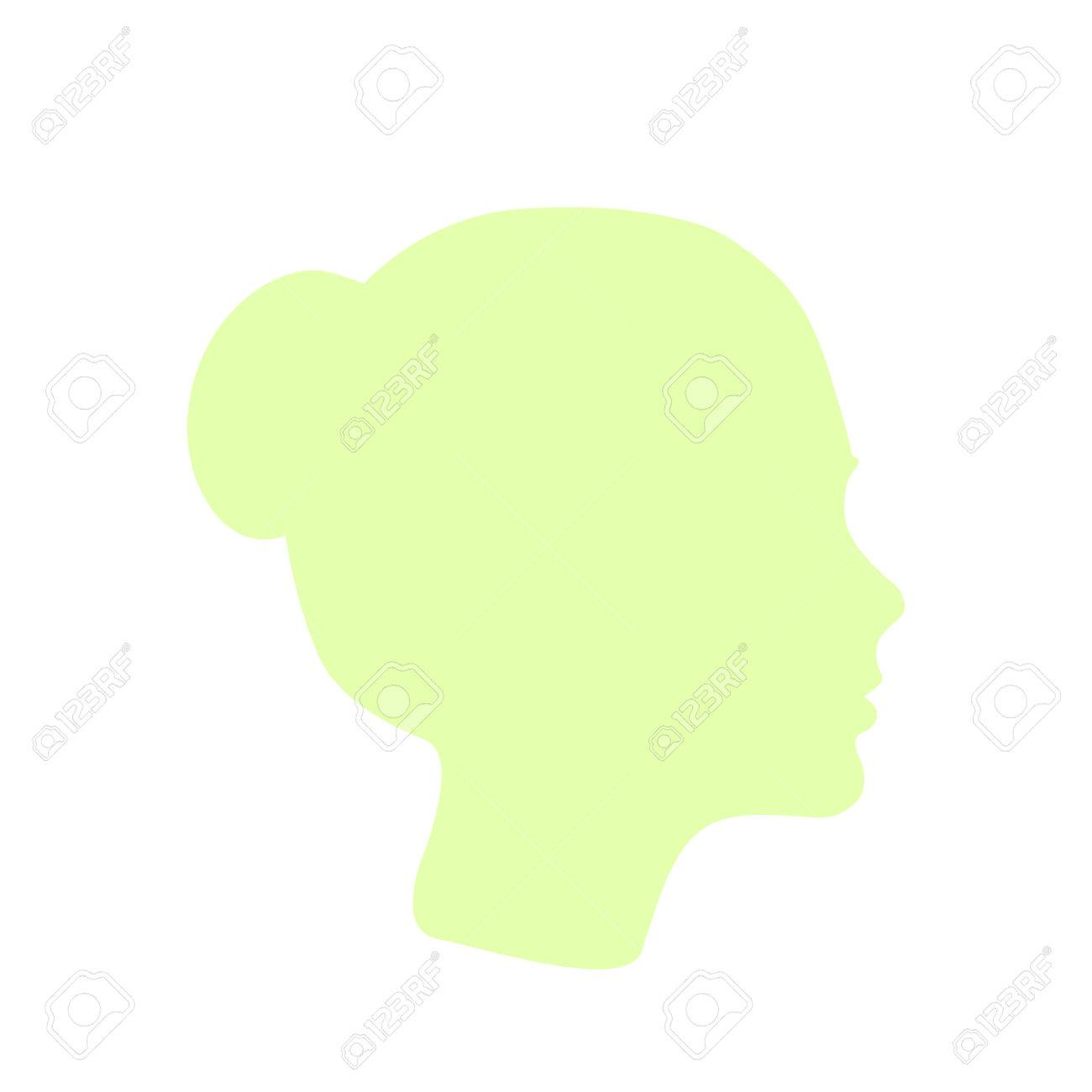 Isolated Pale Green Color Women Side View Vector Logo. Beauty ...