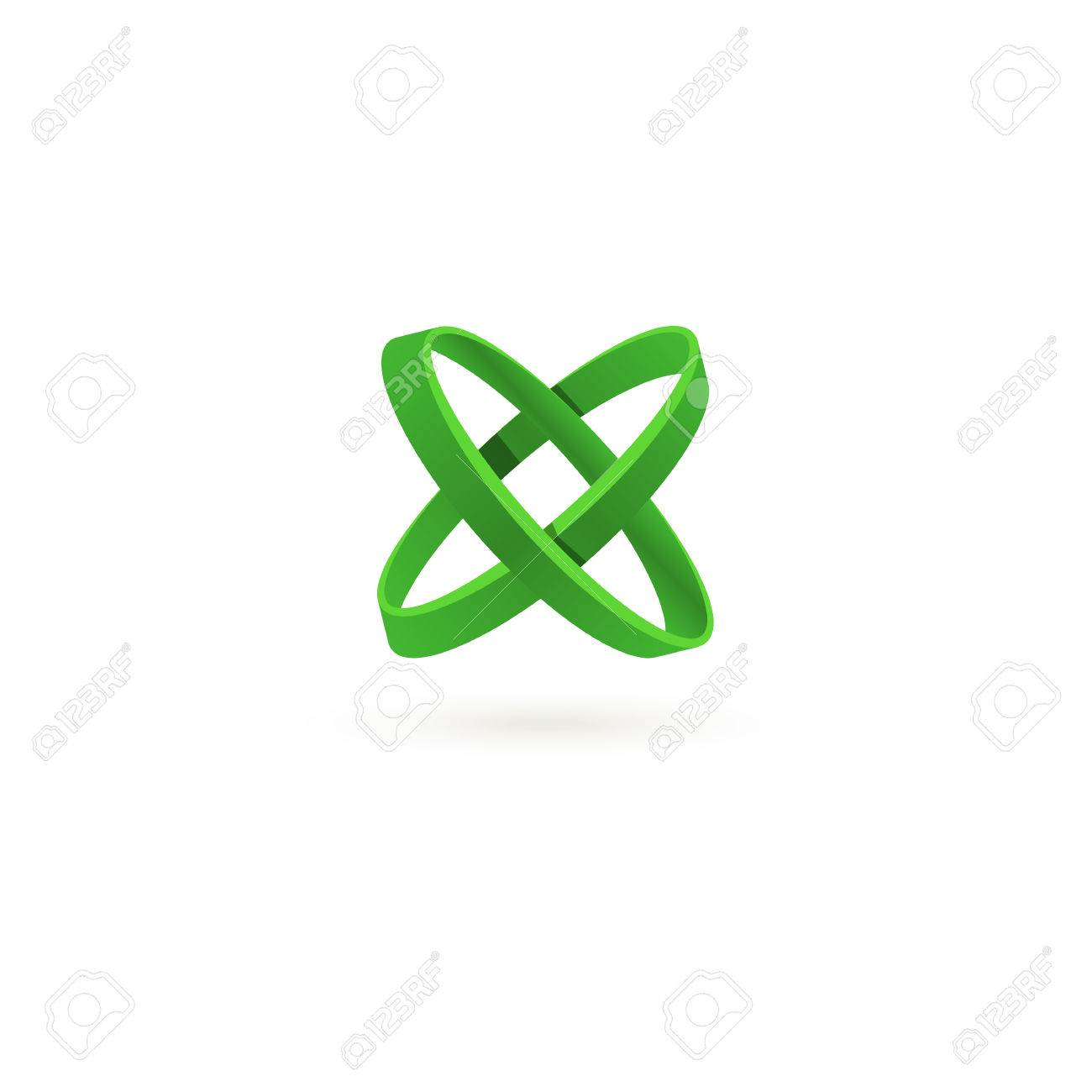Isolated Green Color Cross Vector Logo. Abstract Circles On The ...