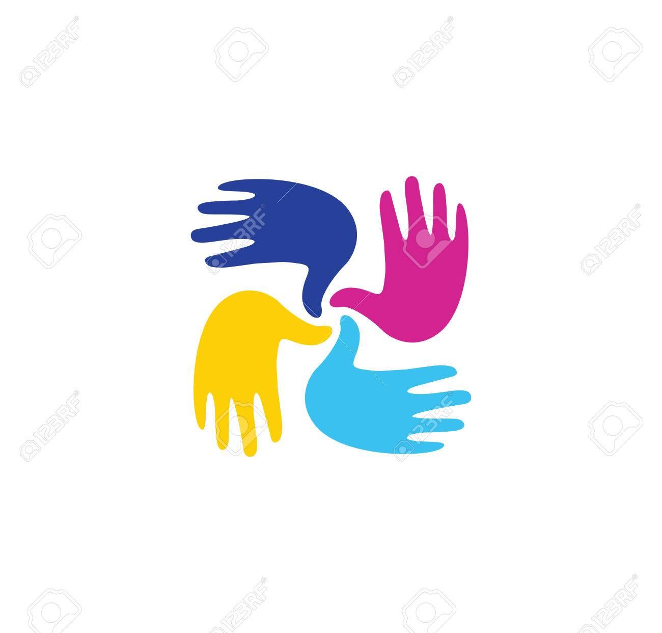 aislados infantiles de colores abstractos manos juntas sala de juegos nios signo de jardn