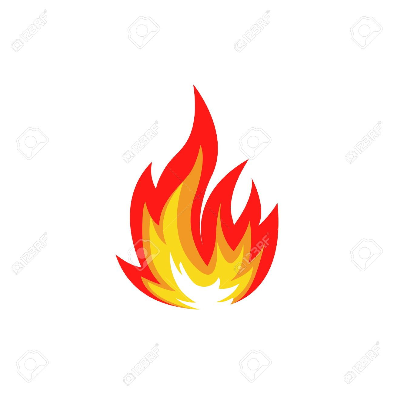 Isolated abstract red and orange color fire flame set on white background. Campfire . Spicy food symbol. Heat icon. Hot energy sign. Vector fire illustration. - 64114511