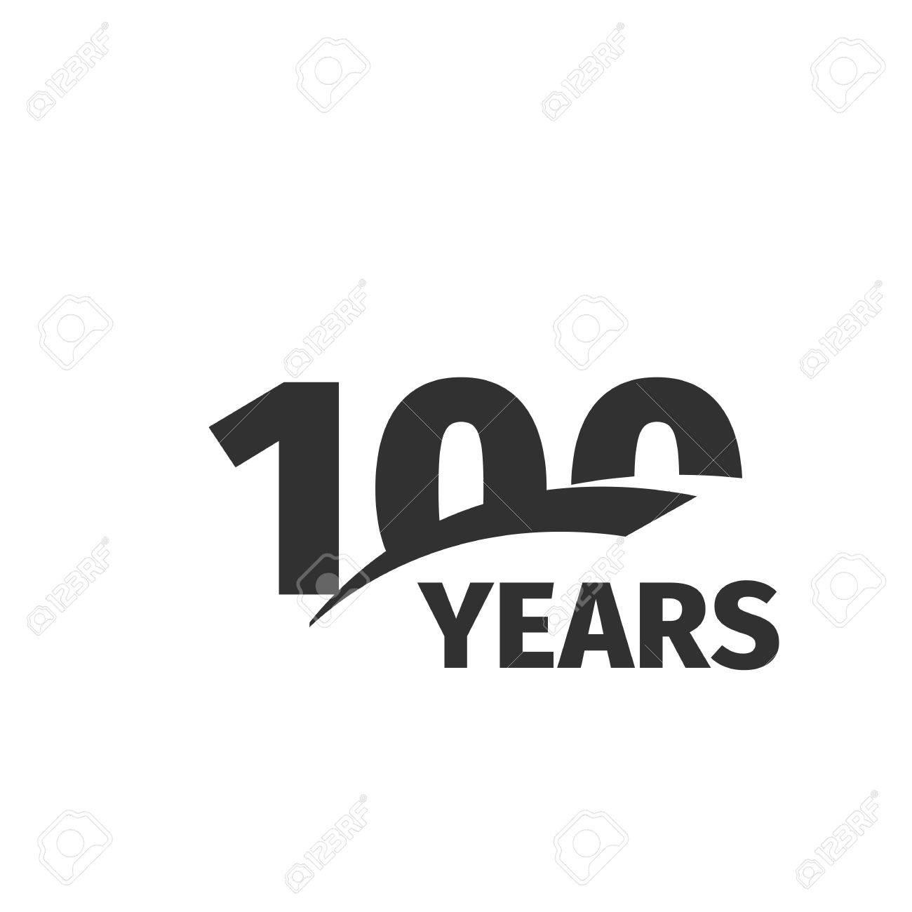 Geisoleerde Abstract Zwarte 100ste Verjaardag Op Een Witte