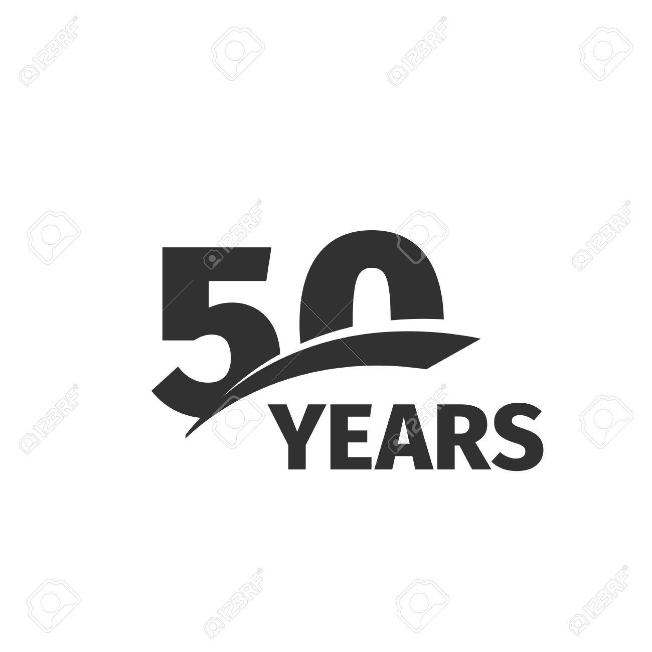 Isolierte Abstrakte Schwarz 50 Geburtstag Auf Weissem Hintergrund