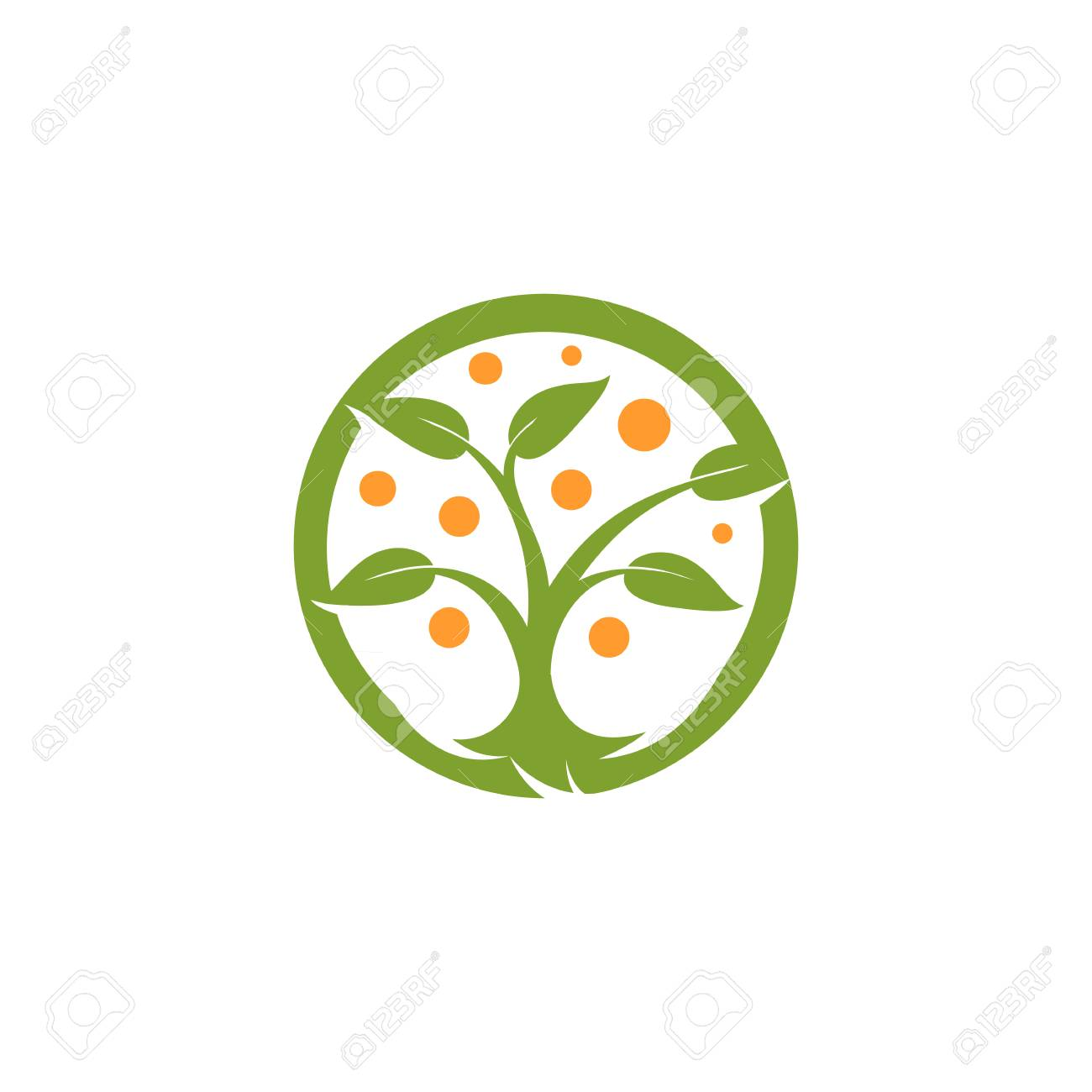 Isolated Abstract Round Shape Green, Orange Color Tree Logo ...