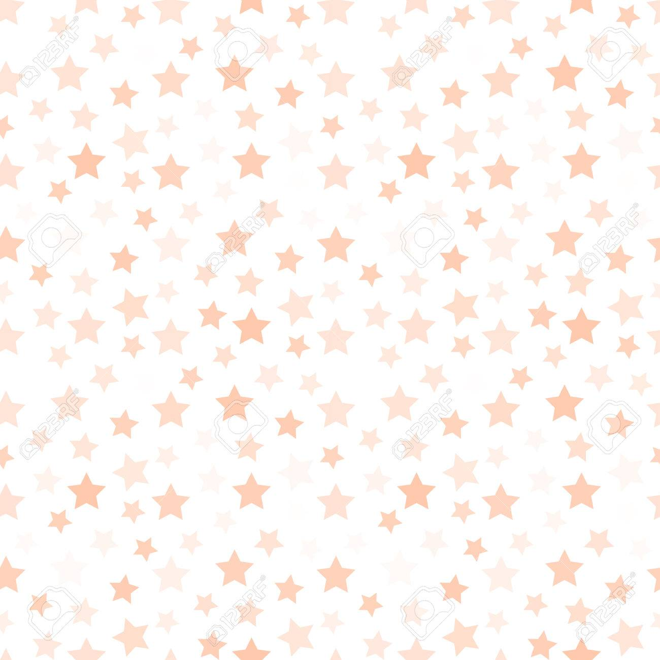 Isolated pale pink color stars on the white background pattern...