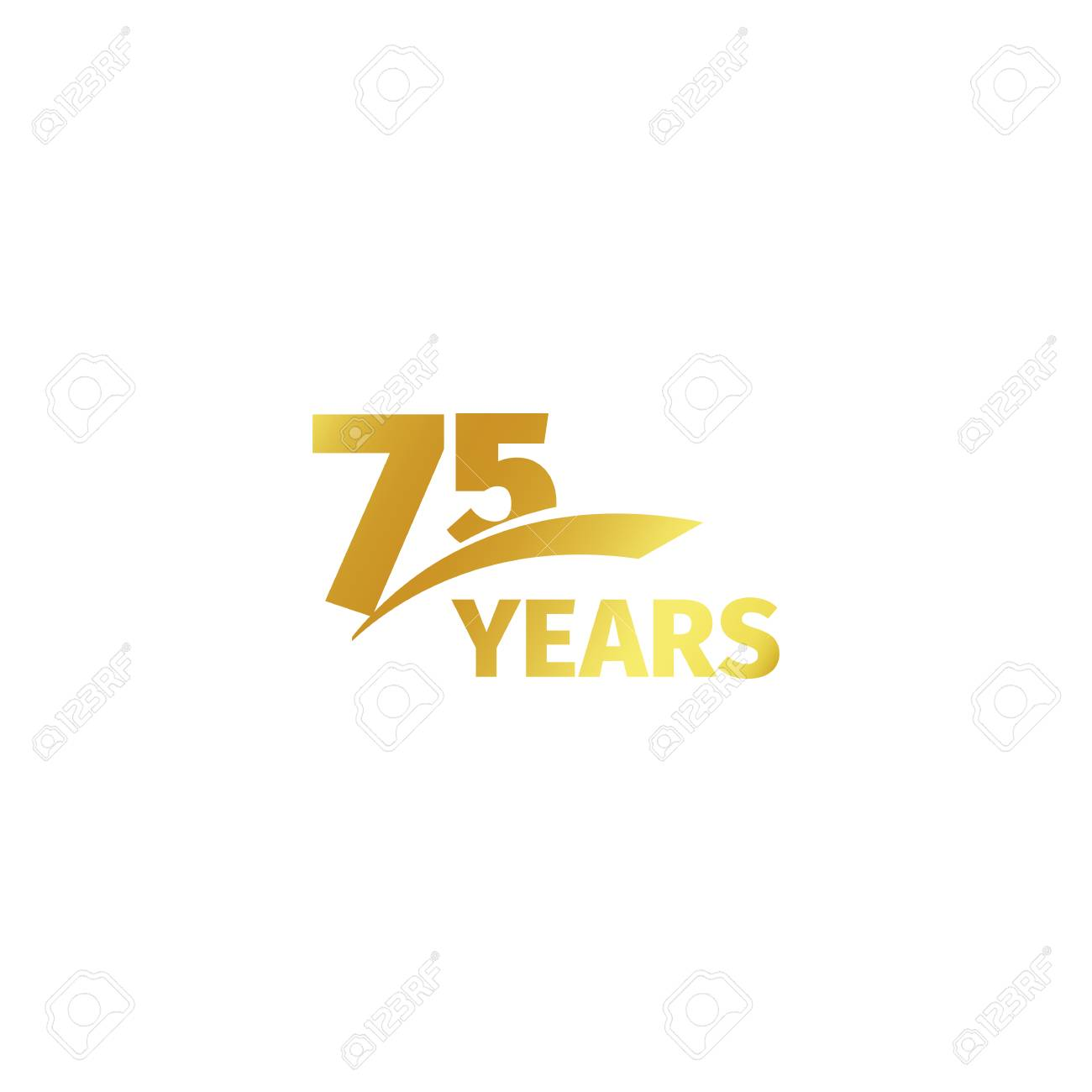 Isolated Abstract Golden 75th Anniversary Logo On White Background