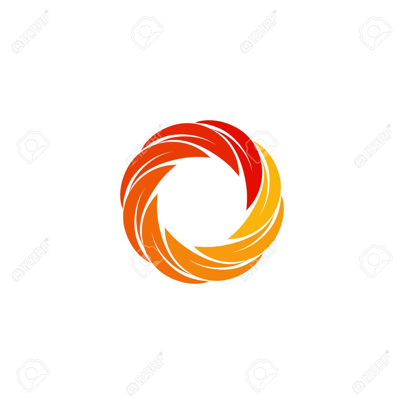 isolated abstract red orange yellow circular sun logo round