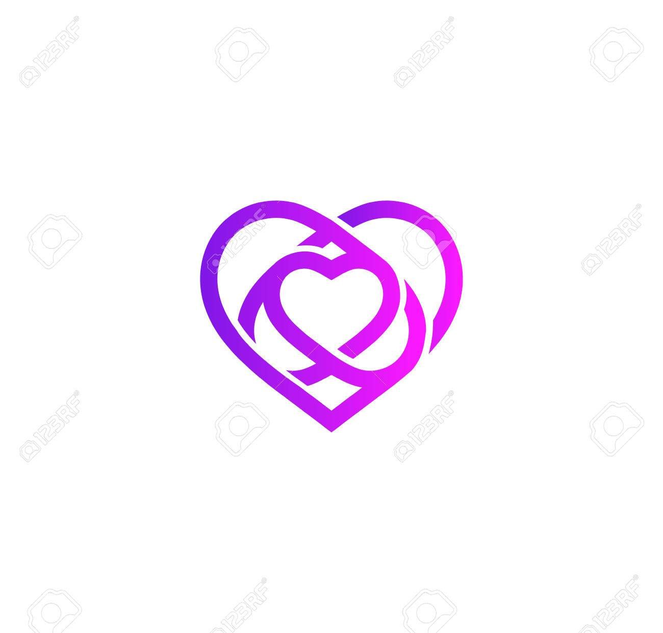 isolated purple abstract monoline heart logo love logotypes rh 123rf com wedding heart cookies Wedding Heart Silhouette