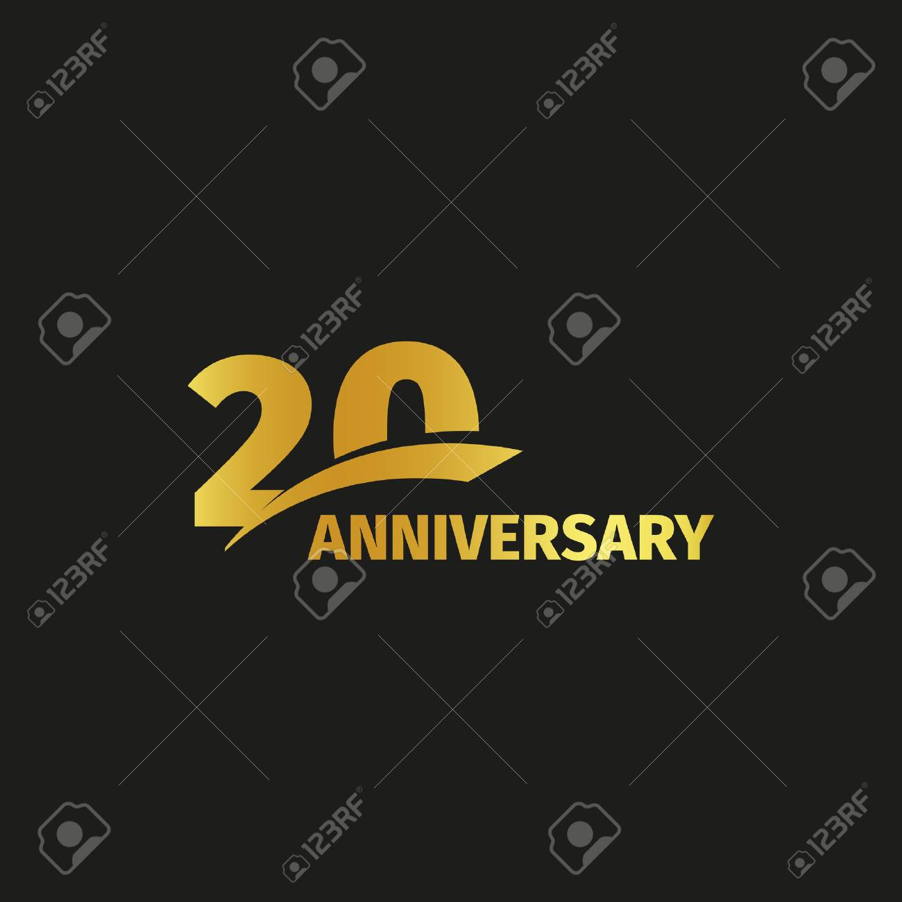 Isolated Abstract Golden 20th Anniversary Logo On Black Background