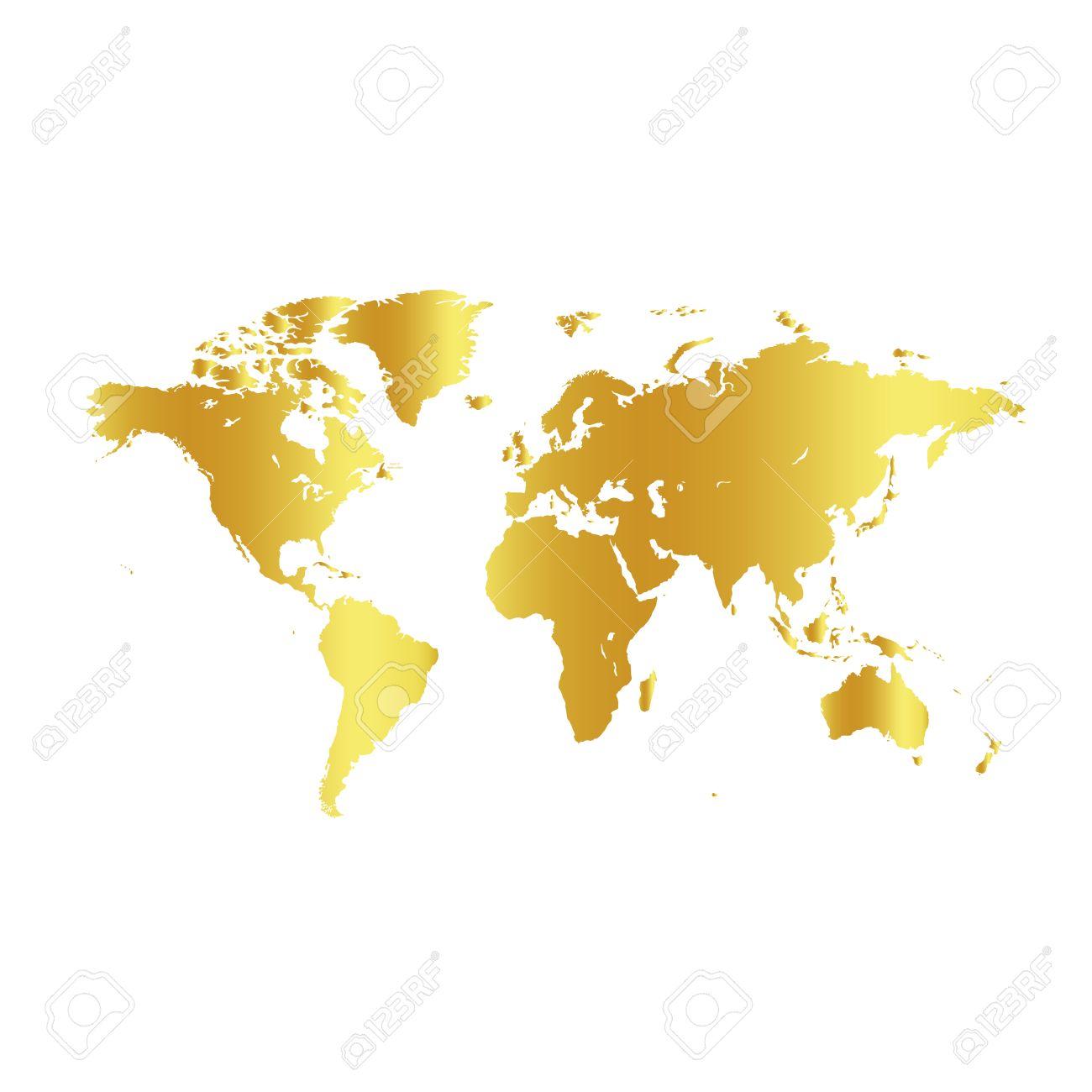 carte du monde fond d écran Or Couleur Carte Du Monde Sur Fond Blanc. Globe Conception Toile