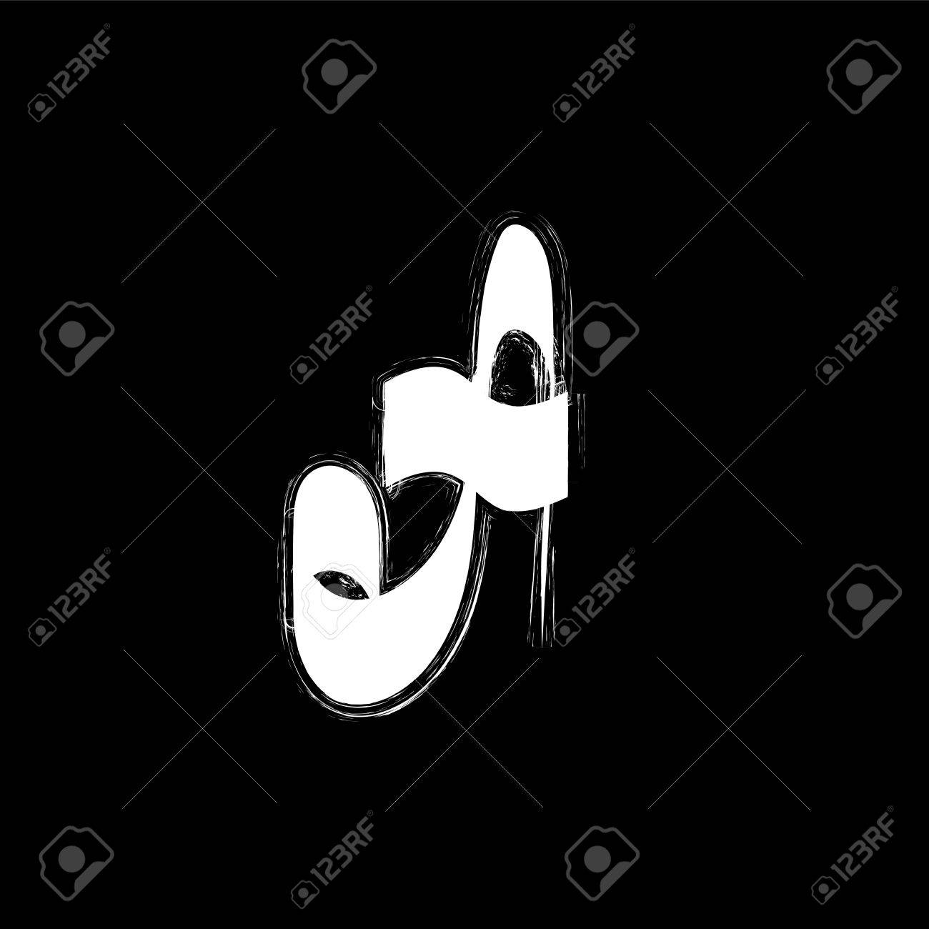 Isolated graffiti font icon white grunge style letter a on black background underground hip