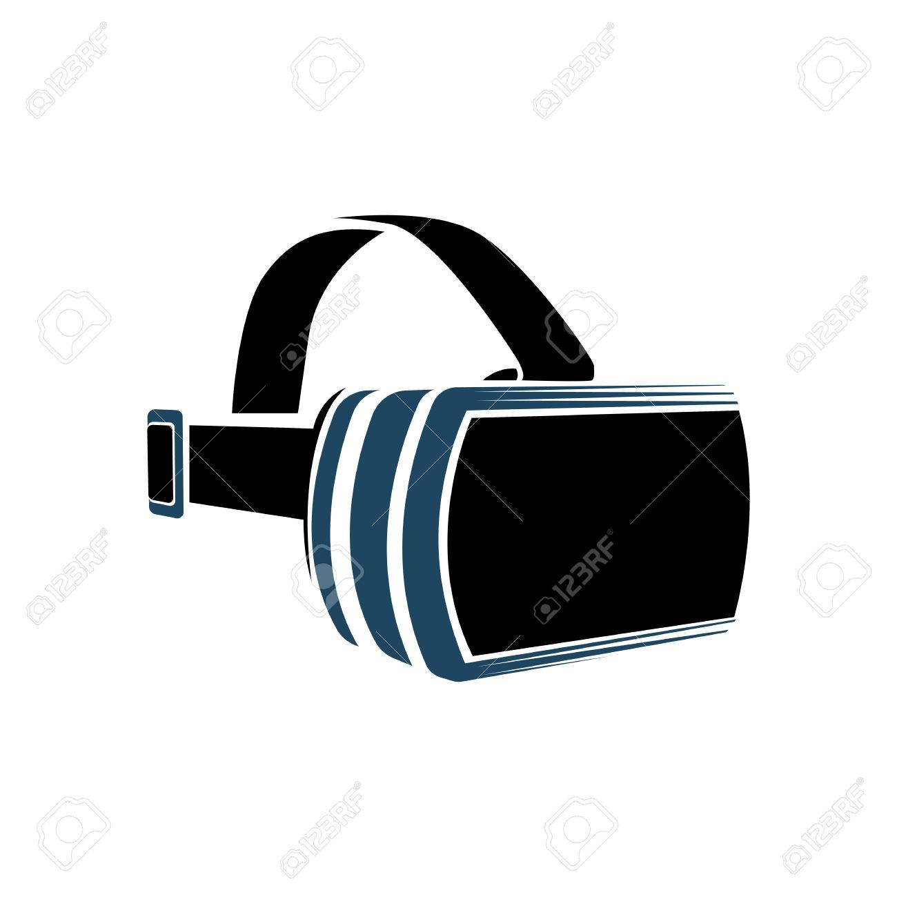 de4fdf9a371 Isolated vr headset logotype on white background. Black color virtual  reality helmet logo. Head