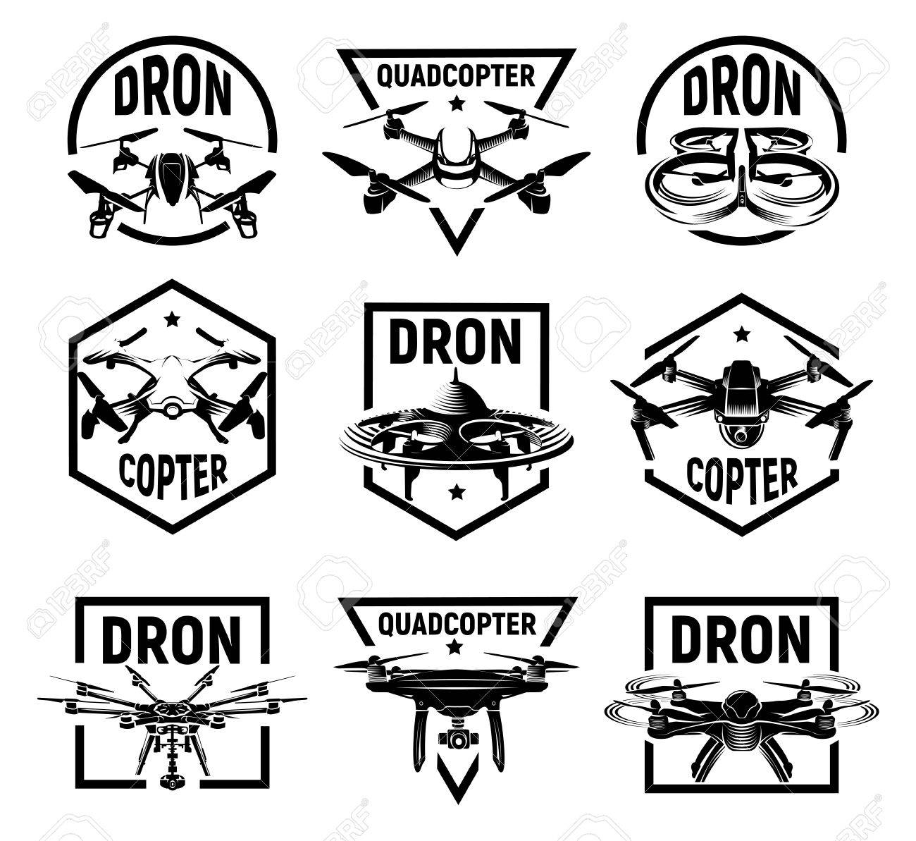 Isolated Monochrome Quadcopter Icons In Frames, Rc Drone Logos ...