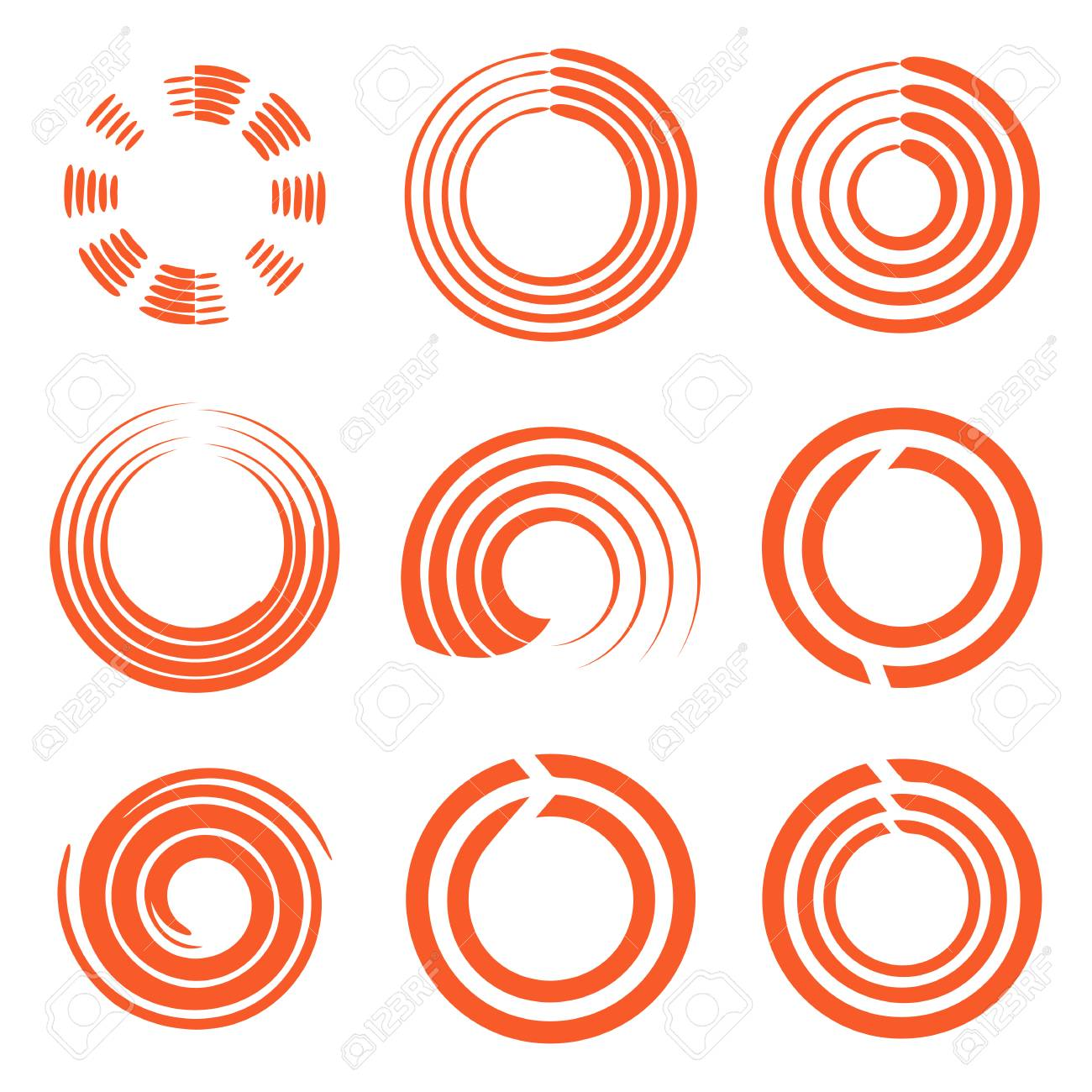 Isolated Abstract Round Shape Orange Color Logo Collection Sun