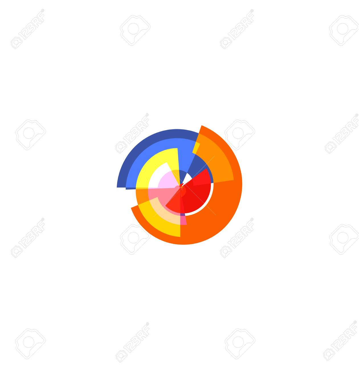 Isolated Abstract Colorful Pie Chart Logo Round Shape Diagram Logotype Infographic Element Vector Illustration