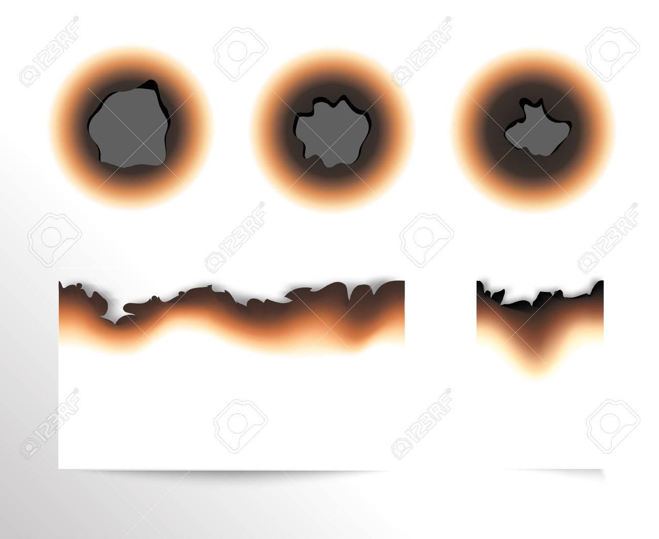 紙と分離した白い背景ベクトル図の焦げた穴の焦げた部分のセットの