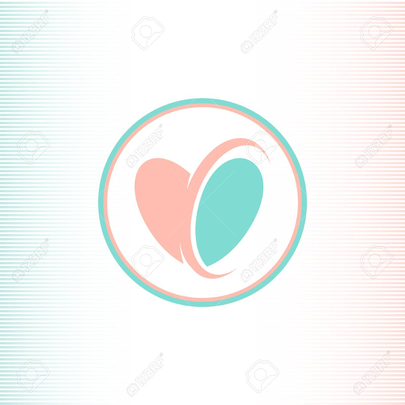 Two Halves Of The Heart Logotype, Pink And Blue Color, United ...