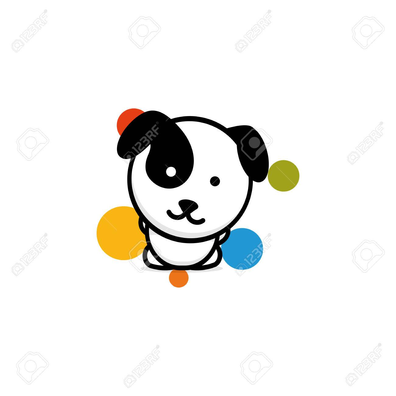 Cute Dog With Colorful Balls Vector Illustration Baby Puppy Royalty Free Cliparts Vectors And Stock Illustration Image 80443706