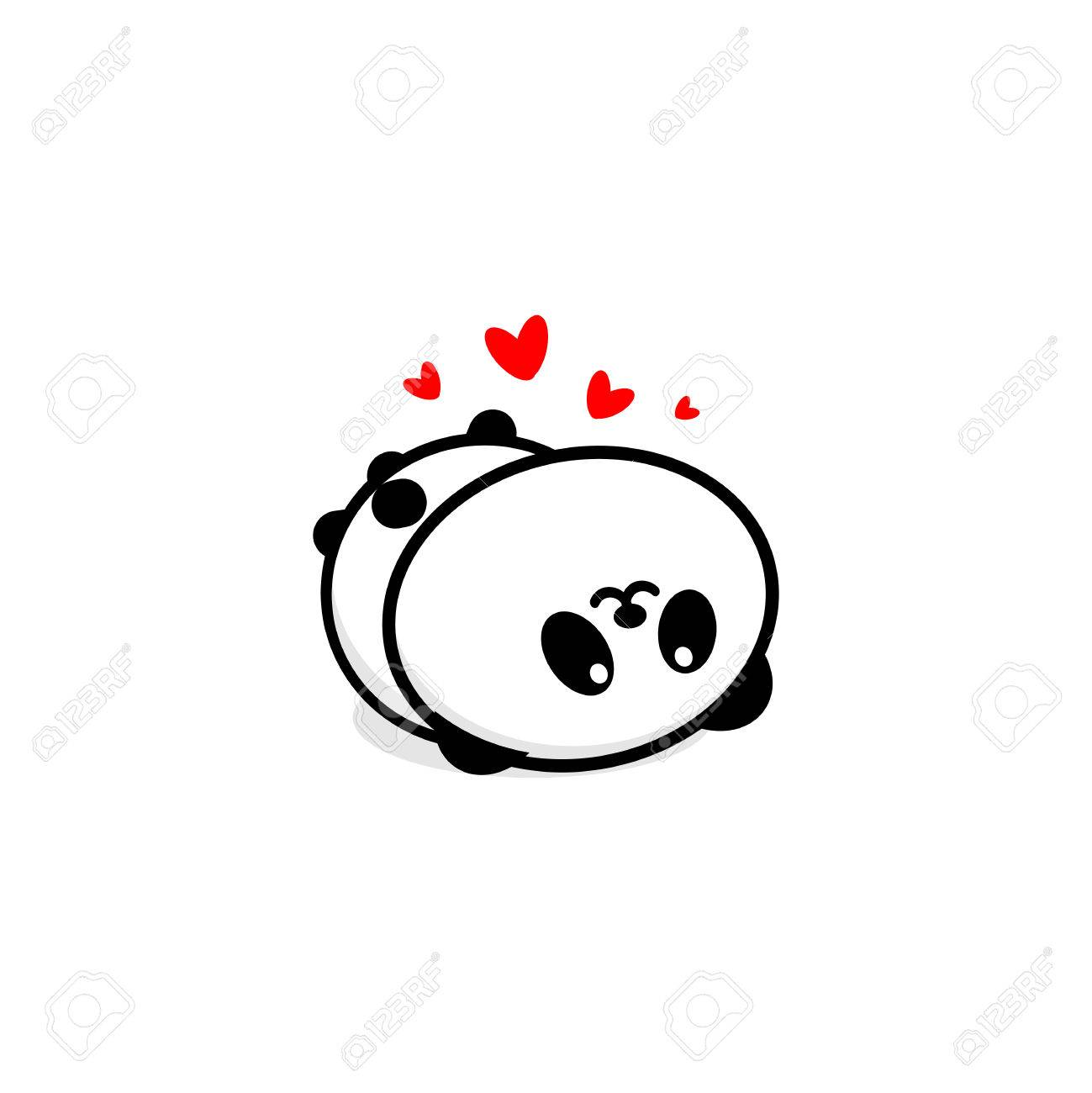 Cute panda in love and rest vector illustration baby bear logo cute panda in love and rest vector illustration baby bear logo new design line buycottarizona