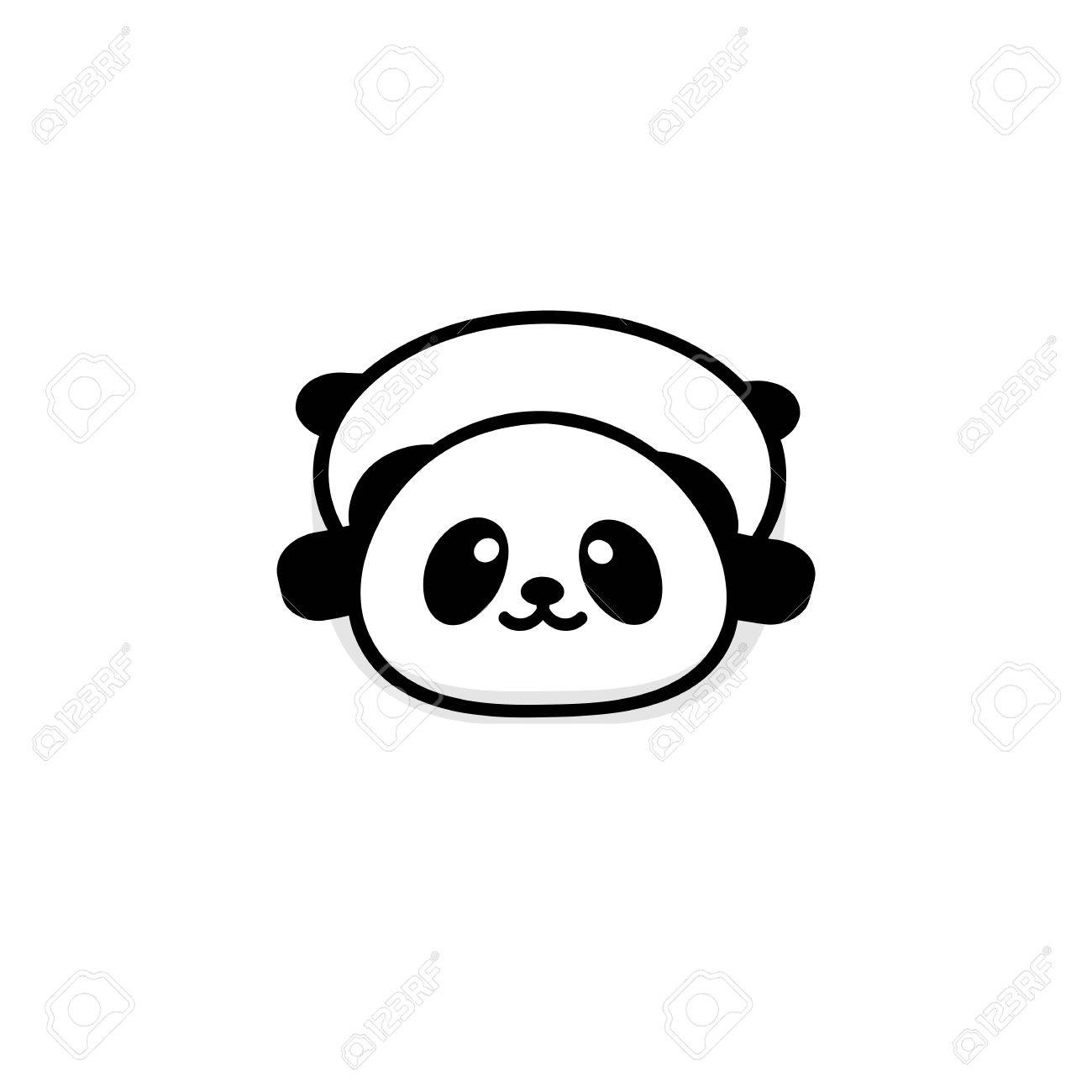 Cute Stout Panda Rest Lying Down Vector Illustration Baby Bear