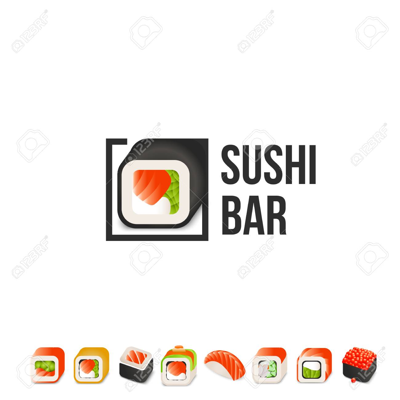 Sushi And Roll Vector Logo Template. Japanese Oriental Kitchen ...