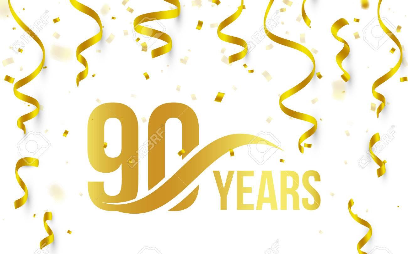 Aislado Color Oro Número 90 Con Año De Palabra Icono Sobre Fondo Blanco Con Confeti De Oro Cayendo Y Cintas 90 Cumpleaños De Saludo De Aniversario De