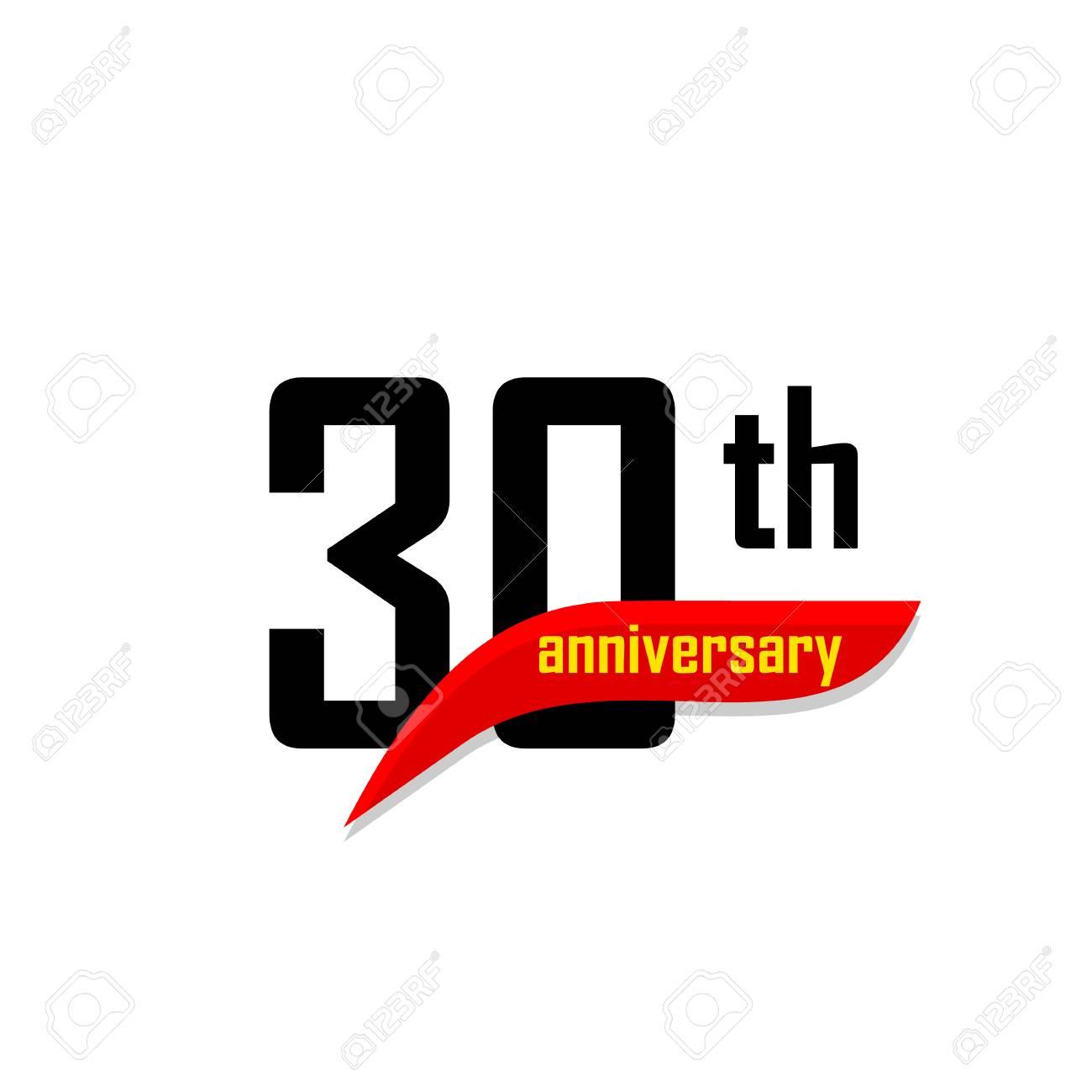 Logo Vectoriel Abstrait 30e Anniversaire Trente Icône De Joyeux Anniversaire Numéros Noirs Avec Forme De Boomerang Rouge Avec Texte Jaune 30 Ans
