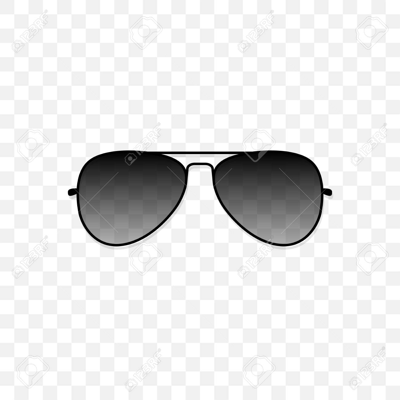 831318d146 Fashion accessory vector illustration. Realistic sunglasses with a  translucent black glass on a transparent background. Protection from sun and
