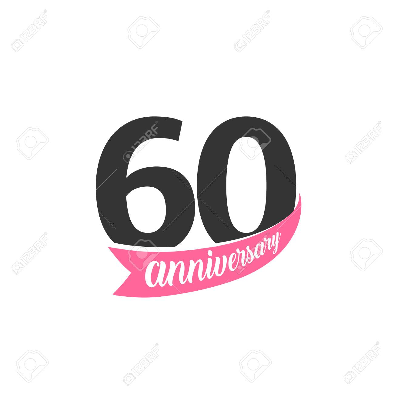 sixtieth anniversary vector logo number 60 illustration for