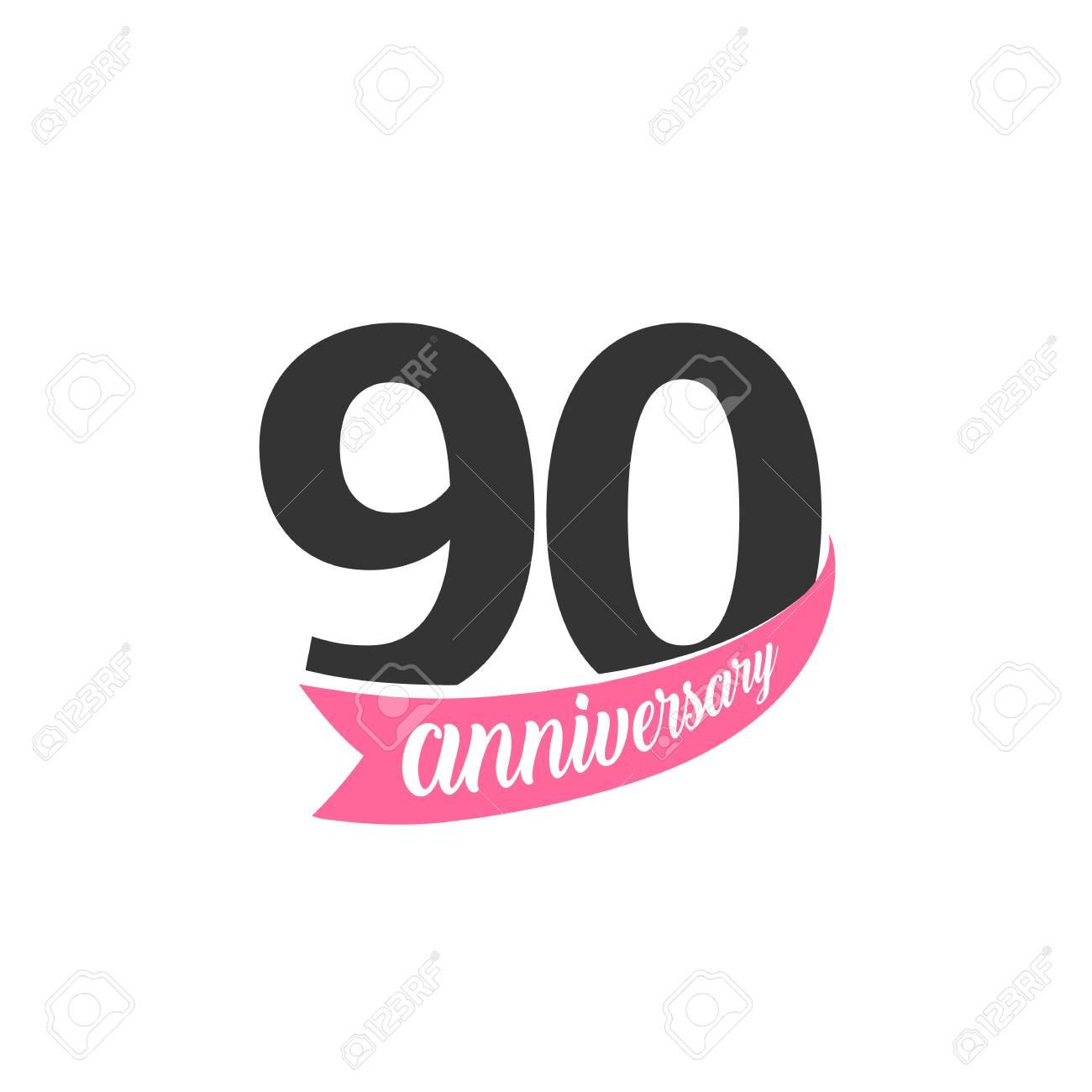 Logo De Vector Aniversario Noventa Número 90 Ilustración Para Tarjeta De Felicitación Invitación Cartel Matrimonio Conmemoración Certificado
