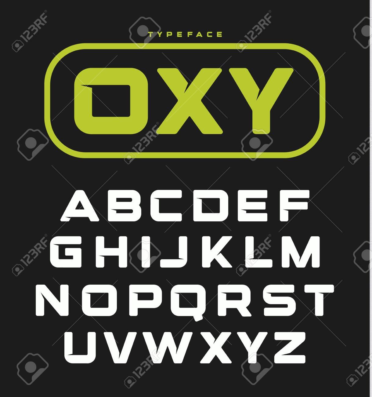Modern unusual bold english alphabet  Geometric font, conceptual