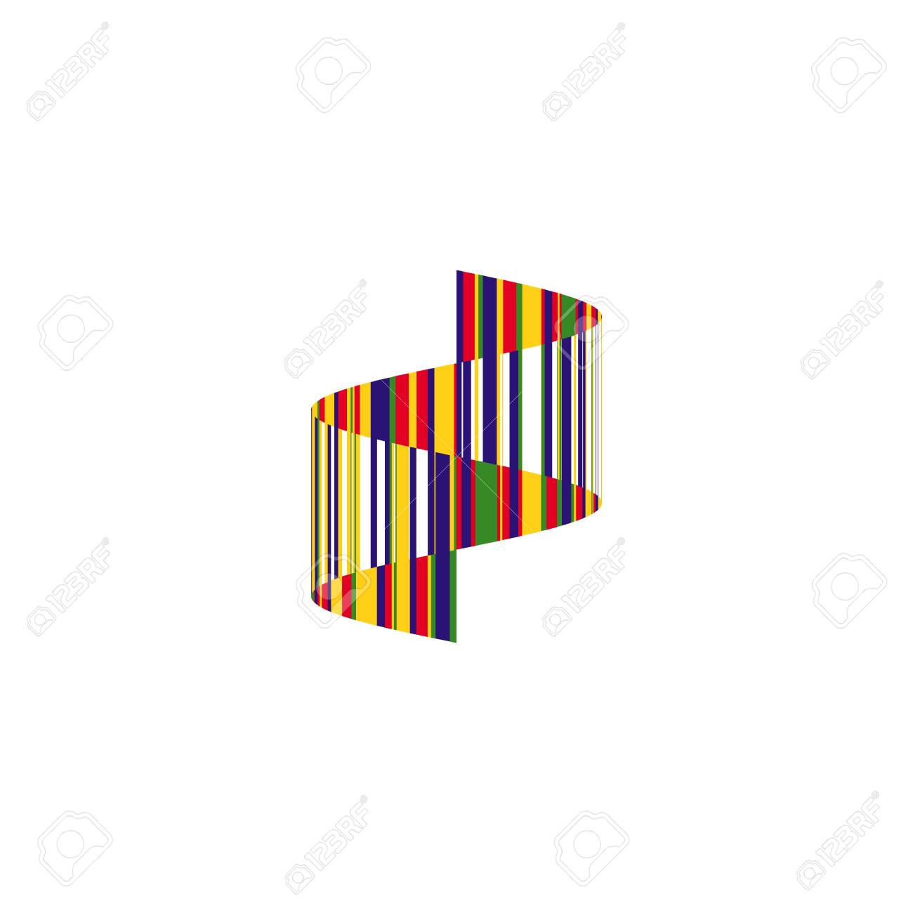 Colorful Striped Wavy Zigzag Icon. Abstract Vertical Ribbon Emblem ... 4bc94a7fb5c4