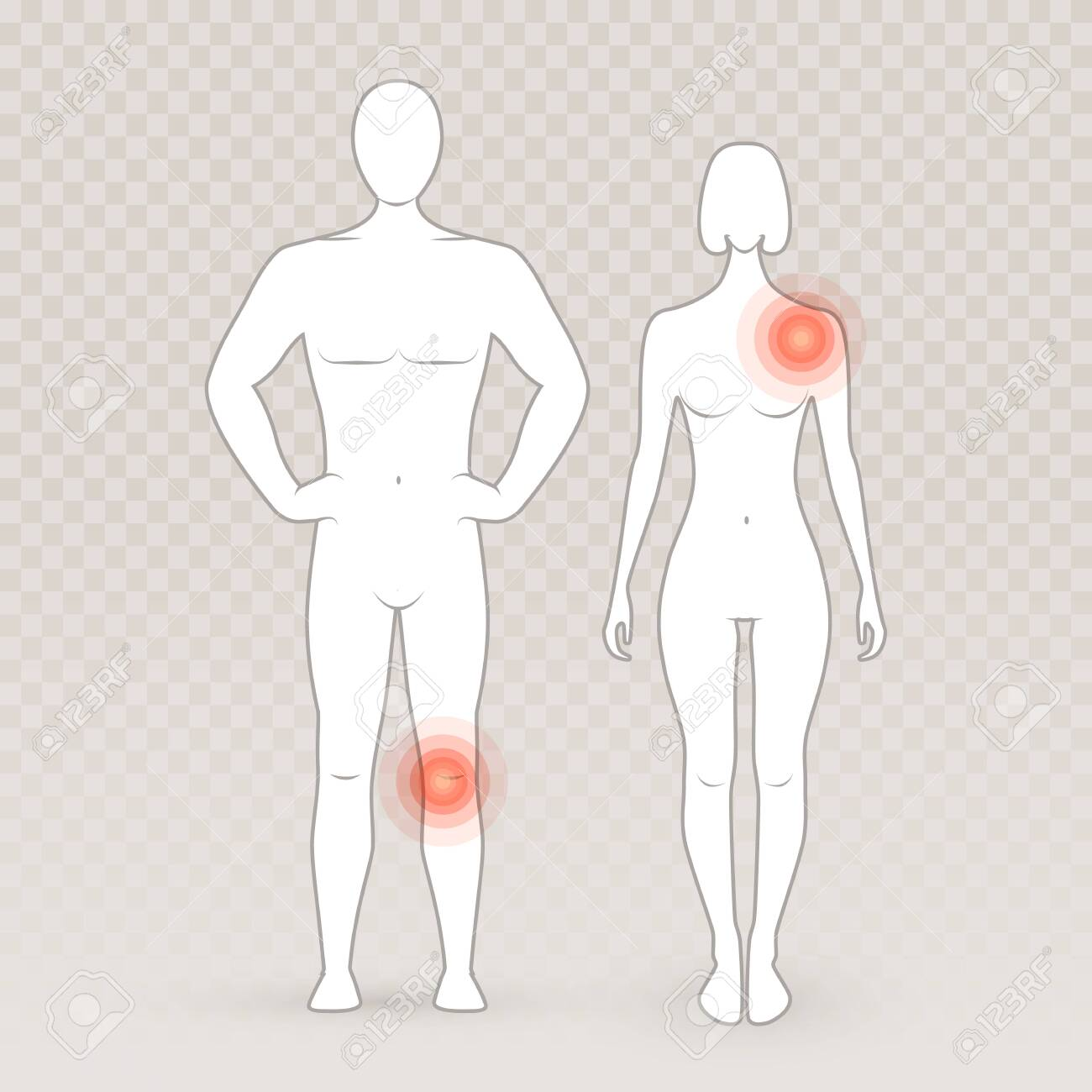 male and female silhouettes with pain circles on the transparent royalty free cliparts vectors and stock illustration image 136523549 male and female silhouettes with pain circles on the transparent