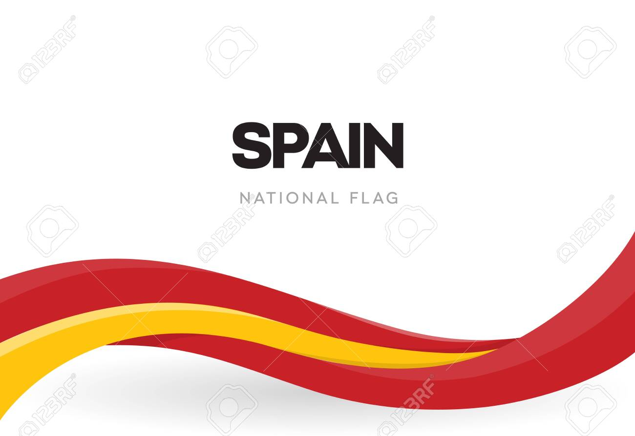 Spanish waving flag banner. National symbol of Spain. Red and yellow ribbon poster. The 12th of October holiday postcard. Discovery of America anniversary vector illustration. Annual celebration. - 148215429