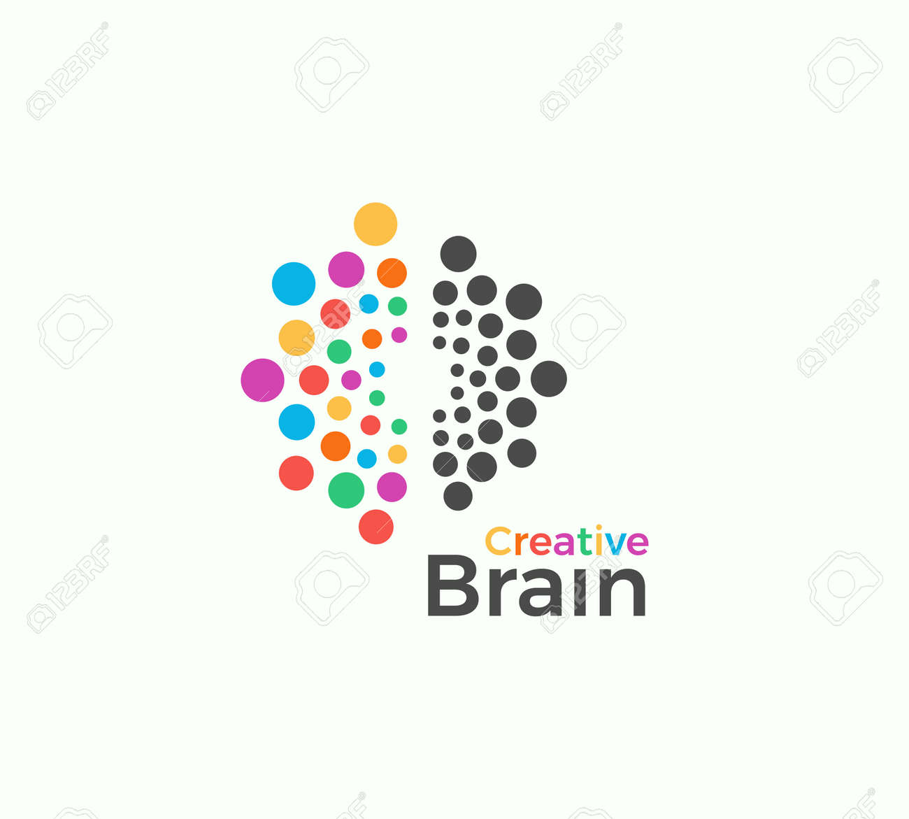 Creative Brain vector logo template in colored dots style. Creative imagination, inspiration abstract icon on white background. Left and right brain hemispheres vector illustration for creativity art - 165910110