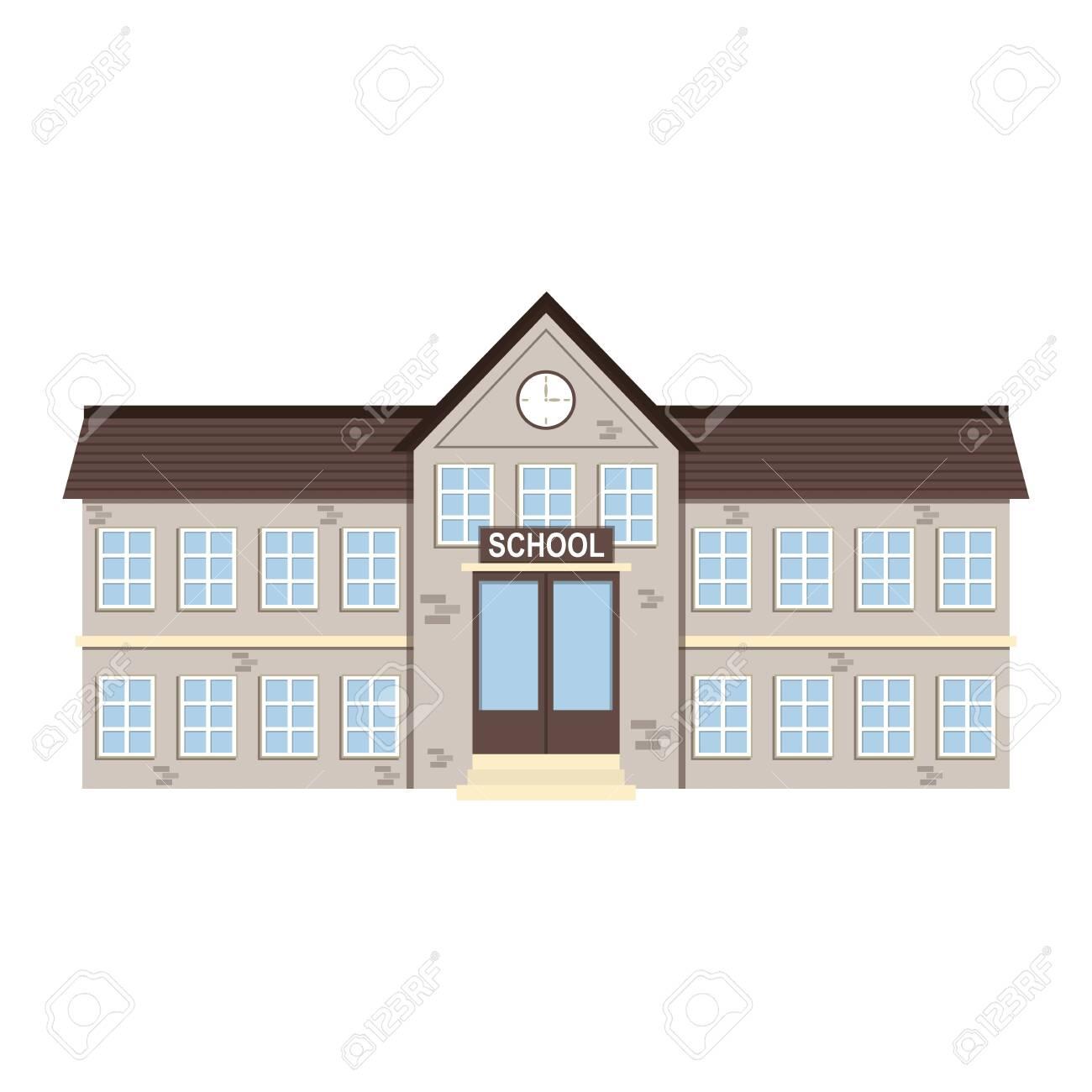 Cartoon brick school building . Vector illustration - 152032827