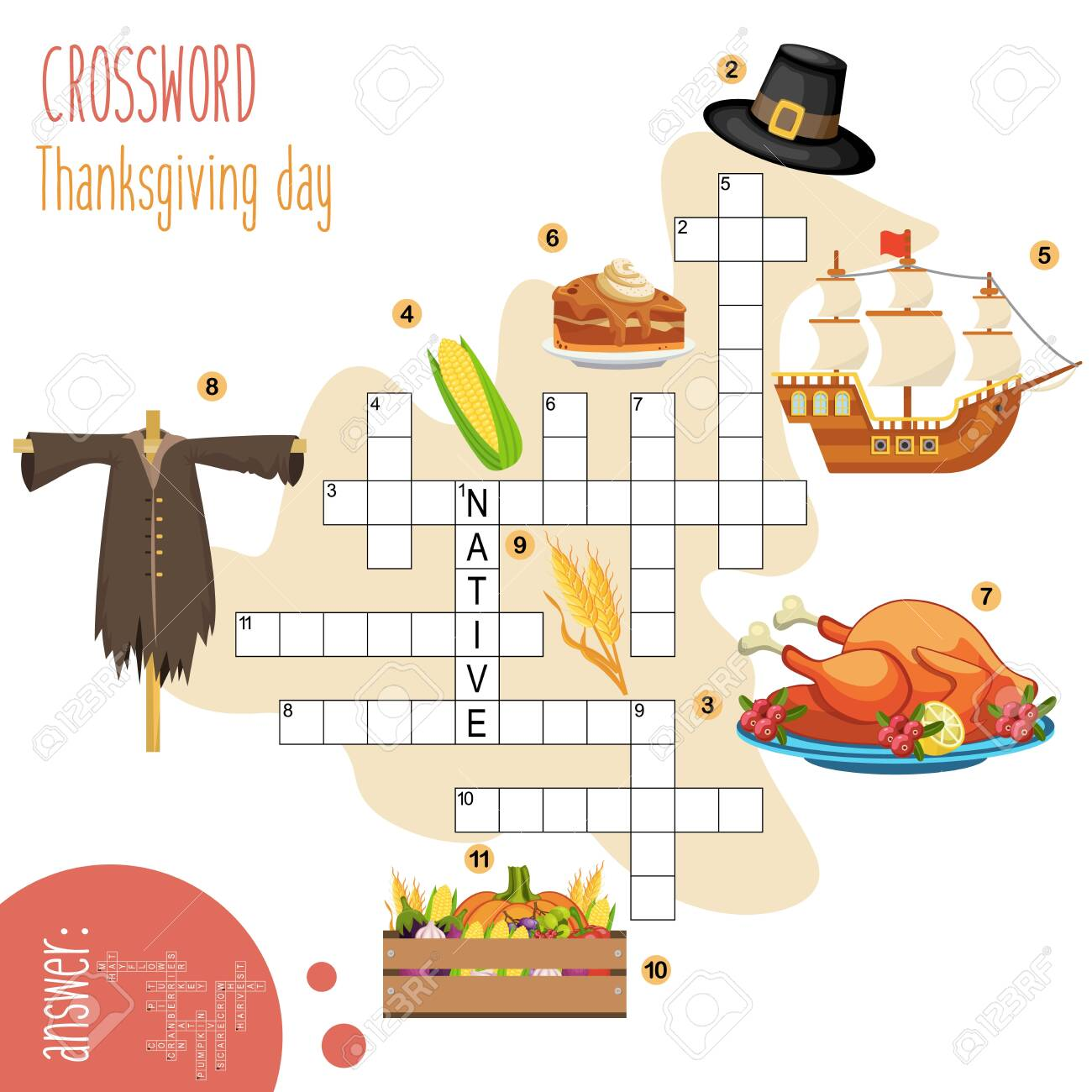 Easy Crossword Puzzle Thanksgiving Day For Children In Elementary Royalty Free Cliparts Vectors And Stock Illustration Image 152029124