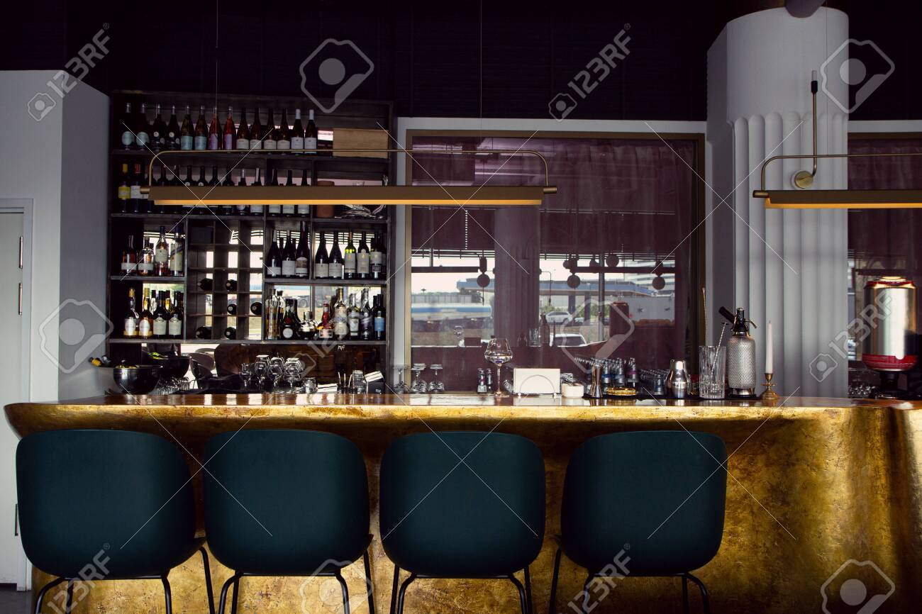 Modern Cafe Interior With Wooden Counter And Chairs No People Stock Photo Picture And Royalty Free Image Image 149956734