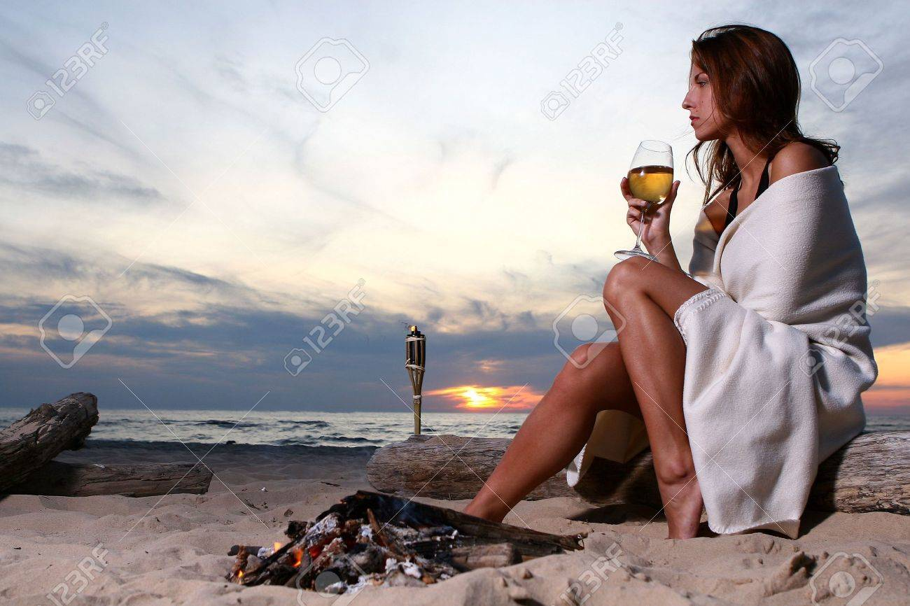 beautiful young woman drinking wine Stock Photo - 5499027