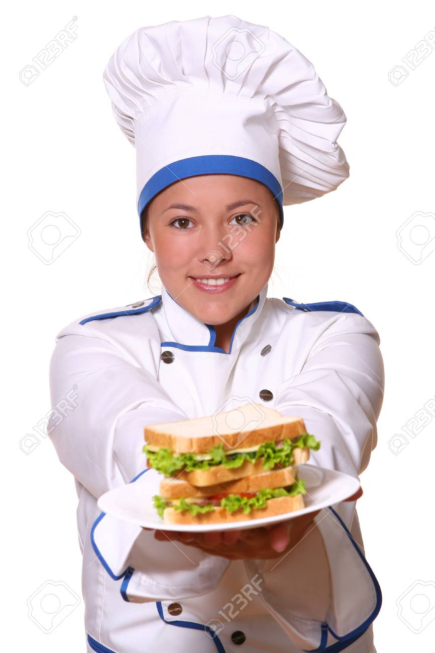 beautiful woman in chef images Stock Photo - 8673639
