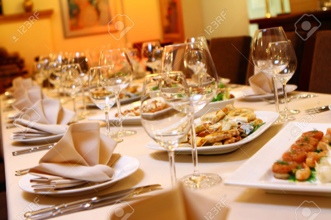 Banquet table with restaurant serving and snacks Stock Photo - 9070819