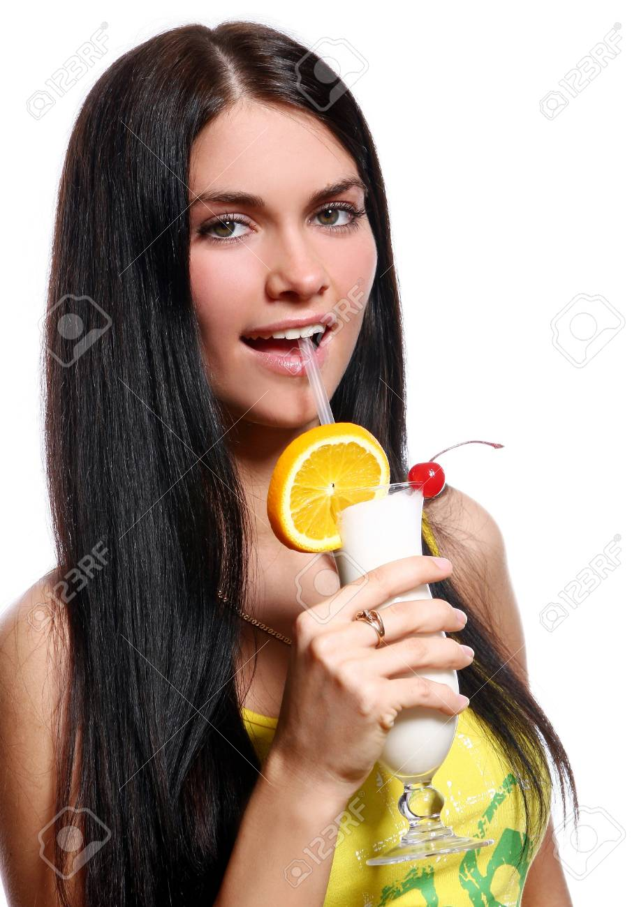 Beautiful girl with milkshake cocktail isolated on white Stock Photo - 9885863