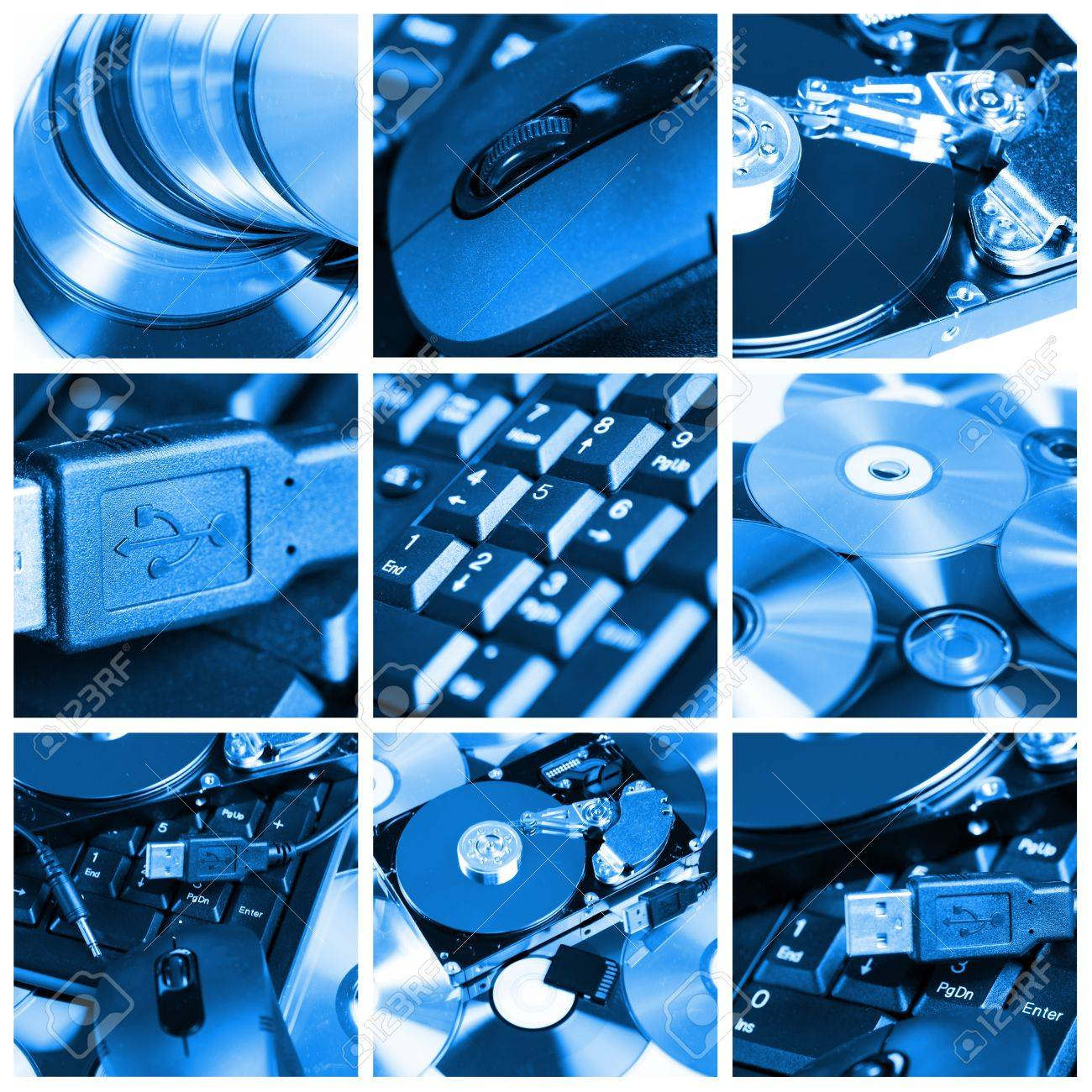 collage of different computer devices and equipment stock photo