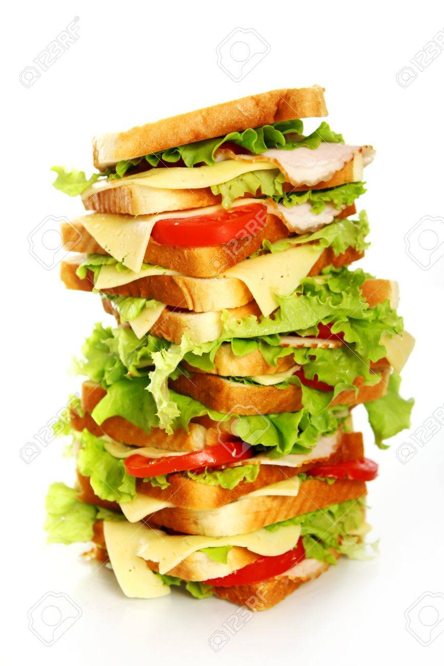 Very big sandwich isolated over white background Stock Photo - 10054316