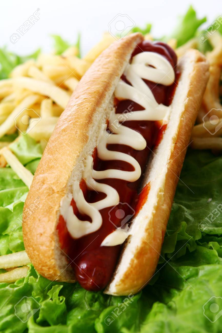Fresh and tasty hot dog with fried potatoes on the salad leaves Stock Photo - 10082883