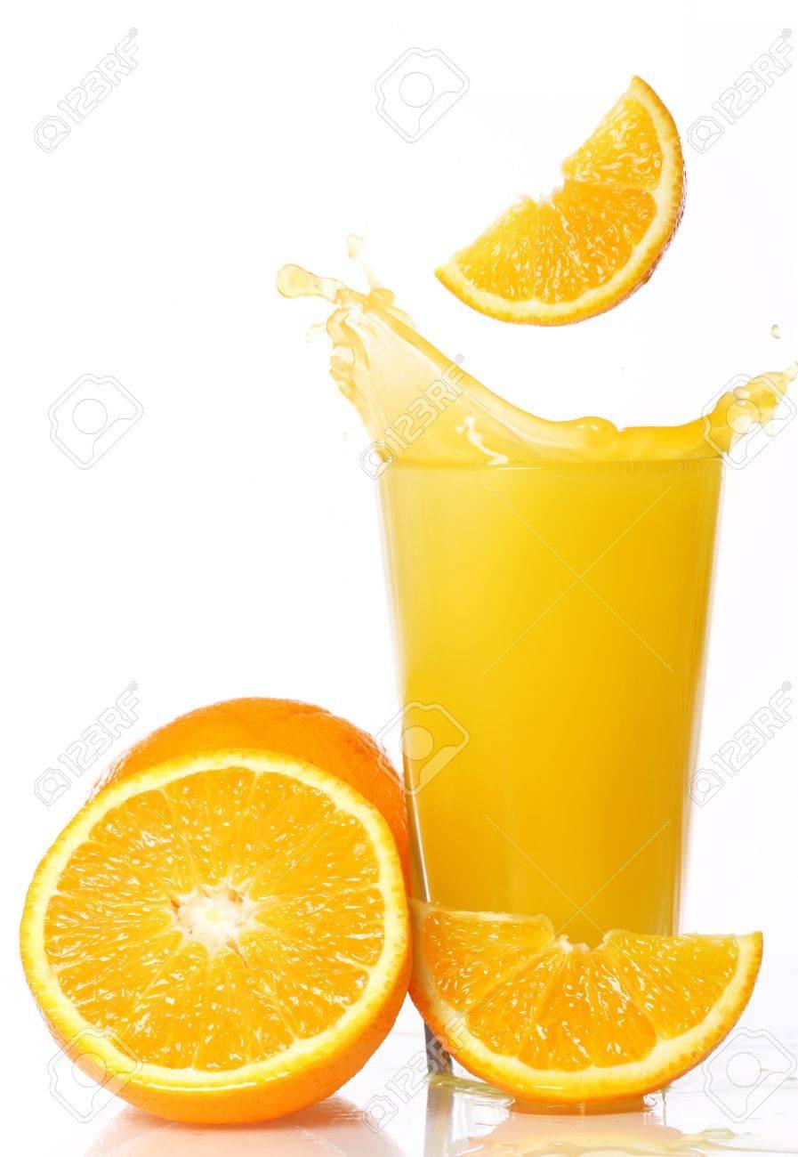 Fresh and cold orange juice against white background Stock Photo - 10504817