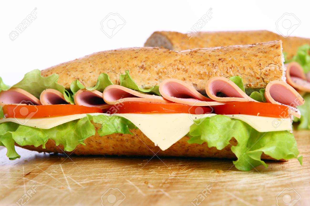 Fresh and tasty sandwich over white background Stock Photo - 10630093