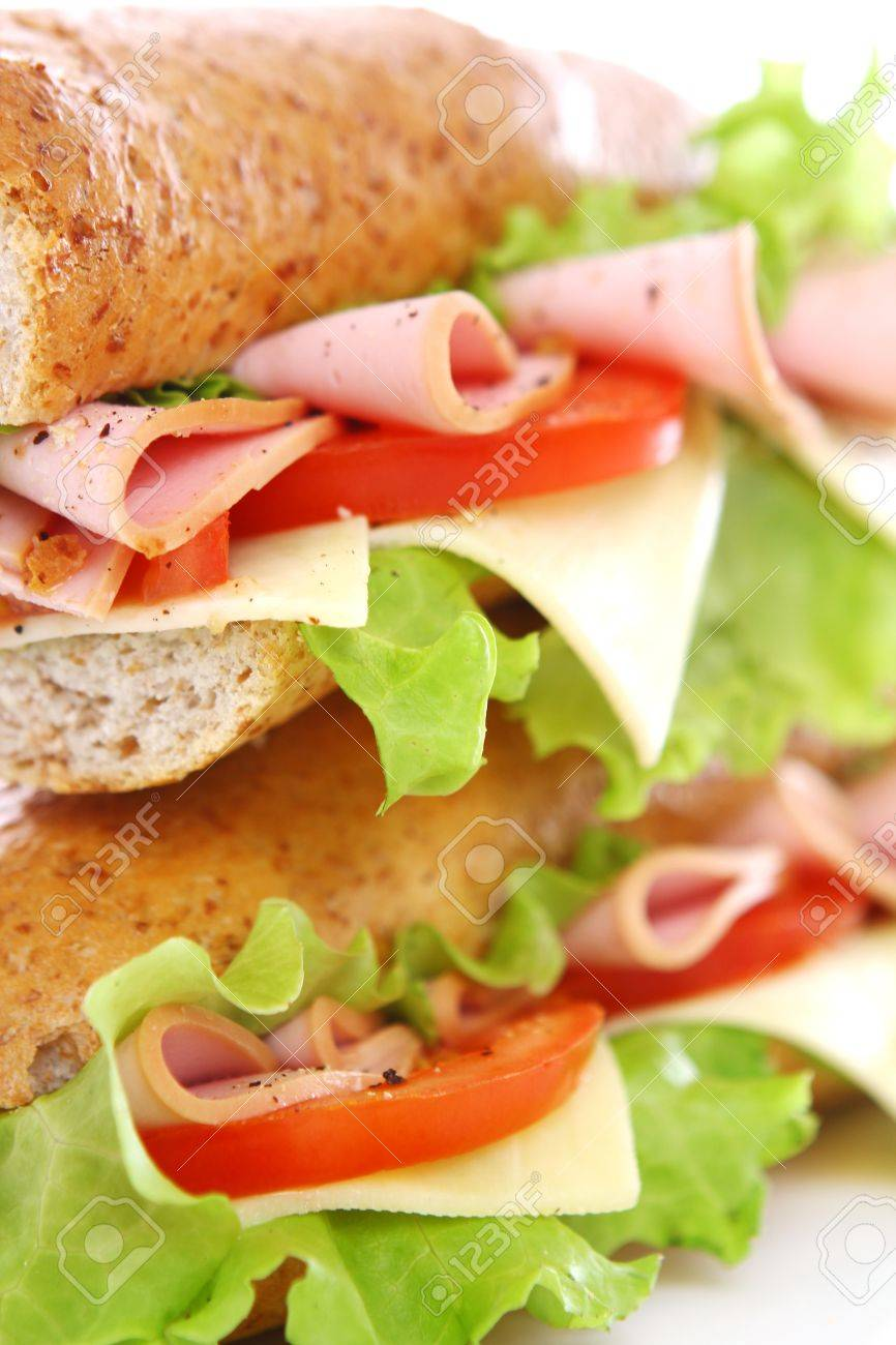 Fresh and tasty sandwich over white background Stock Photo - 10630100